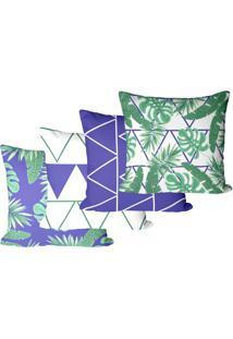 Kit Com 4 Capas Para Almofadas Decorativas Floral Geométricas 45X45Cm
