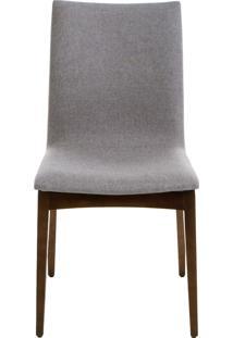 Cadeira Fidalga - Base Amãªndoa E Tecido Cinza