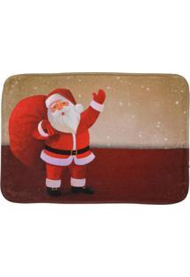 Tapete Para Banheiro Papai Noel- Vermelho & Bege- 40Mabruk