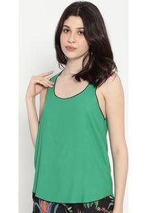 Blusa Com Pesponto- Verde Água & Preta- Colccicolcci