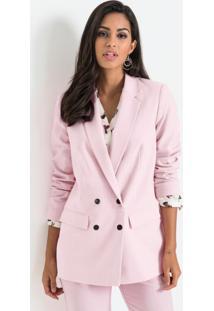Blazer Oversized Abotoamento Duplo Rosa Claro