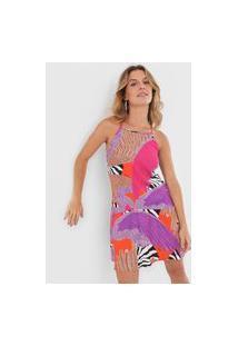 Vestido Triton Curto Folhagem Rosa/Bege