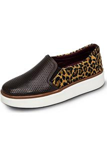 Slip On Mr Light Sapatilha Iate Estampa Flatform Café