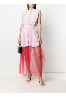 Atu Body Couture Vestido Com Pregas E Recorte De Tule - Rosa
