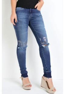 Calça Eventual Com Tachas No Joelho Jeans