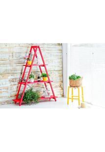 Estante Escada Aquiles Vermelho Mão E Formão