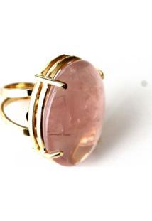 Anel Ovalado Ajustável Pedra Quartzo Rosa Twik