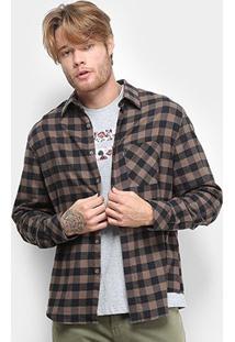 Camisa Ellus Wool Touch Xadrez Manga Longa Masculina - Masculino-Marrom