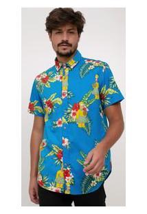 Camisa Com Estampa Tropical Simpsons Em Tricoline