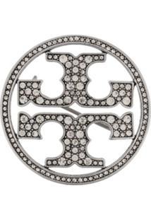 Tory Burch Broche Com Logo - Prateado