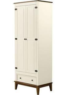 Armario Malibu 2 Portas E 1 Gaveta Cor Off White Com Amendoa 204 Cm - 63568 - Sun House