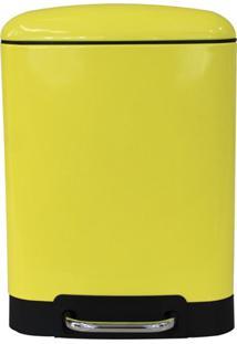 Lixeira Retangular Com Pedal 6 Litros Amarela