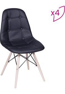 Jogo De Cadeiras Eames Botonãª- Preto & Bege Claro- 4Or Design