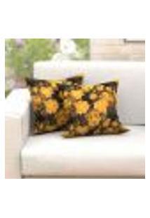 Jogo De Capas De Almofada Amarela Floral 45Cm X 45Cm Jacquard 2 Unidades
