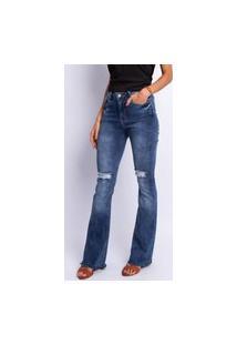 Calça Flare Feminino Jeans Lavagem Clara Puído Jeans