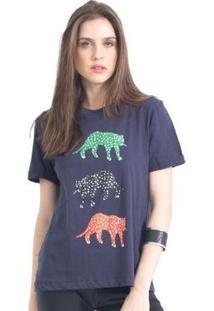 Camiseta 41Onze Tri Cheetah Feminina - Feminino-Marinho