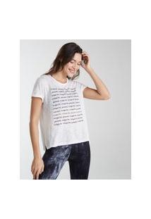 Amaro Feminino Yogini Camiseta Cotton Inspire Pause, Off-White