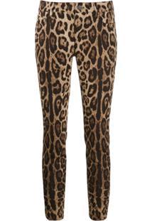 Dolce & Gabbana Calça Jeans Cropped Com Estampa De Leopardo - Neutro