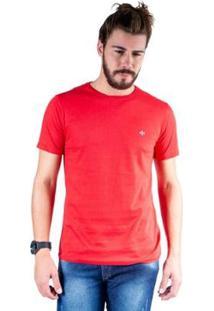 Camiseta Mister Fish Gola Careca Basic Masculina - Masculino-Vermelho