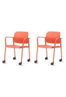 Kit 2 Cadeiras Leaf Com Bracos Base Rodizio Laranja - 57387 Laranja