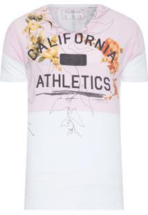 Camiseta Masculina Califórnia Athletics - Rosa E Branco