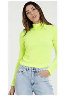 Blusa Feminina Canelada Neon Gola Alta Marisa