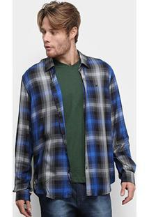 Camisa Ellus High Rayon Xadrez Manga Longa Masculina - Masculino-Azul Royal