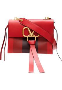 Valentino Bolsa Tote De Couro Com Logo - Vermelho