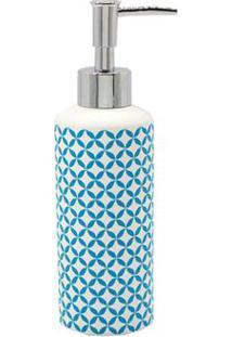 Porta Sabonete Líquido De Bancada Em Resina Branco Geo Blue Coisas E Coisinhas