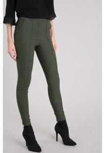 Calça Feminina Skinny Cintura Alta Verde Militar