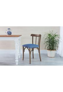 Cadeira De Jantar Estofada Justine - Stain Nogueira - Tec.930 Azul Claro - 43X47,5X78,5 Cm