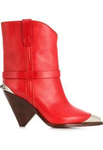 Isabel Marant Ankle Boot 'Lamsy' De Couro - Vermelho