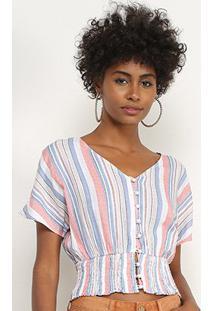 Blusa Lily Fashion Listrada Botões Feminina - Feminino-Azul