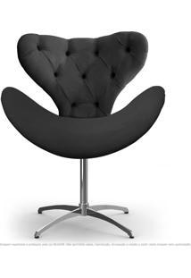 Cadeira Com Capitonê Decorativa Poltrona Egg Cinza Com Base Giratória