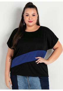 Blusa Preta E Azul Com Recorte Plus Size