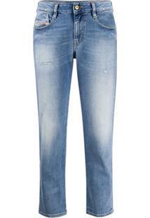 Diesel Calça Jeans Reta Com Efeito Destroyed - Azul