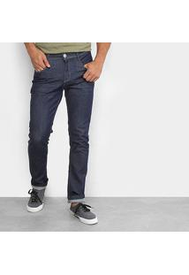 Calça Jeans Slim Preston Bigode E Bolso Bordado Masculina - Masculino-Azul
