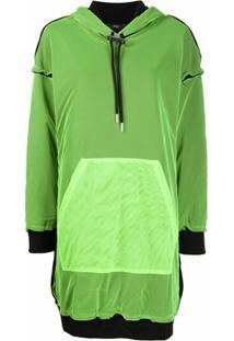Diesel Vestido De Capuz Com Sobreposição De Tule - Verde