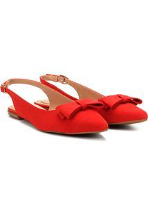 Sandália Drezzup Chanel Laço Feminina - Feminino-Vermelho