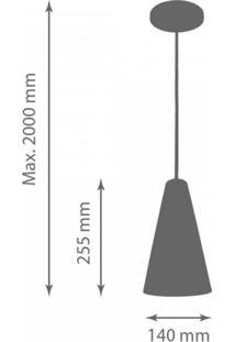 Pendente Alumínio Cônico 14Cmx25,5Cm 1847 Volare Preto