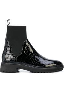 Loeffler Randall Ankle Boot Chelsea Com Efeito Pele De Crocodilo - Preto