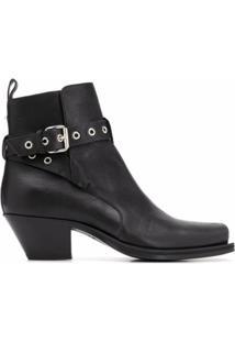 Versace Ankle Boot Com Tiras Enroladas - Preto