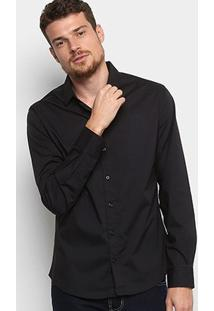 Camisa Manga Longa Colcci Slim Elastano Masculina - Masculino-Preto