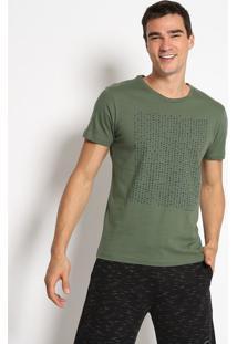 Camiseta Com Inscriã§Ãµes & Poã¡S- Verde Militar & Preta