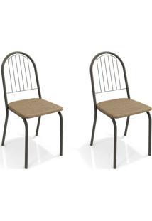 Conjunto Com 2 Cadeiras De Cozinha Noruega Preto E Capuccino