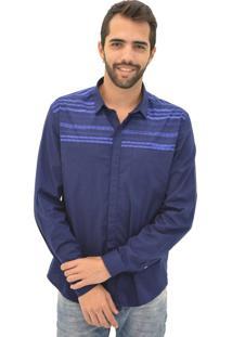 Camisa Opera Rock Recorte Silk Azul Marinho