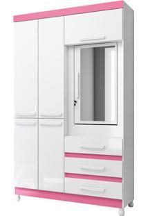 Guarda-Roupa Solteiro Fusion 6Pt Branco E Rosa