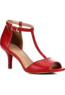 Sandália Couro Shoestock Salto Fino Médio Tira Feminina - Feminino-Vermelho