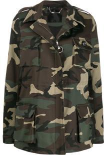 Philipp Plein Camouflage Pattern Military Jacket - Verde
