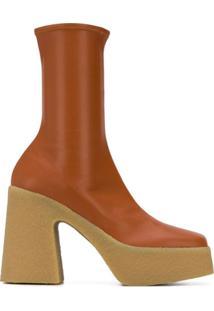 Stella Mccartney Ankle Boot Meia Com Plataforma 120Mm - Marrom